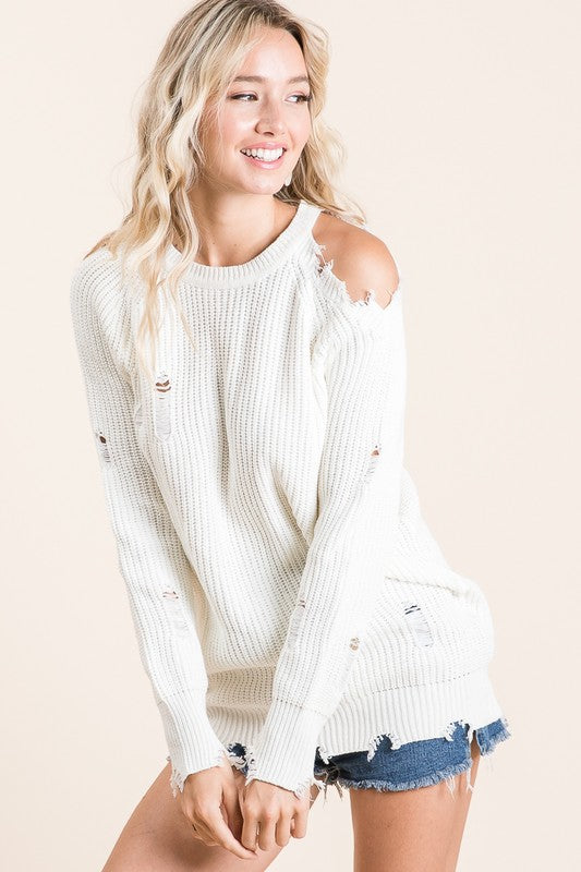 Cold Shoulder, cut out sweater
