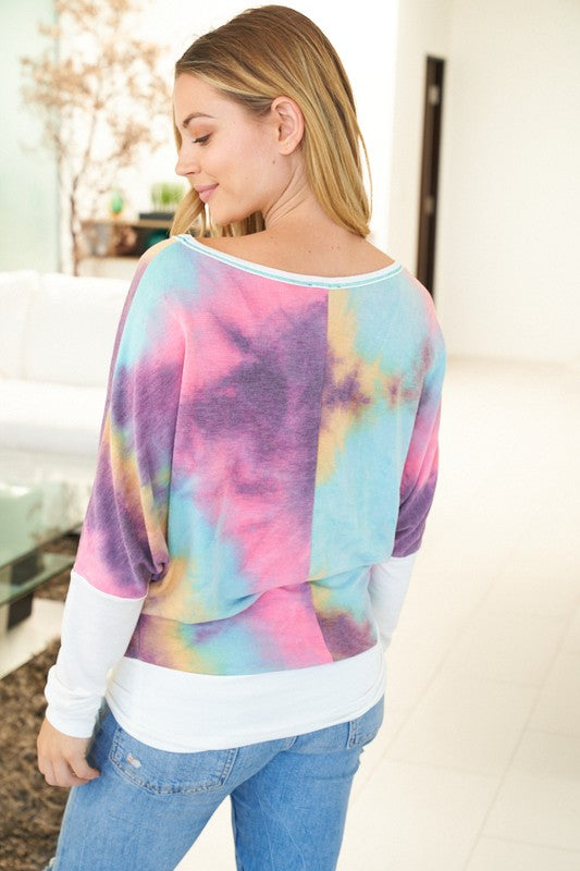 tie dye knit top with reverse stitching