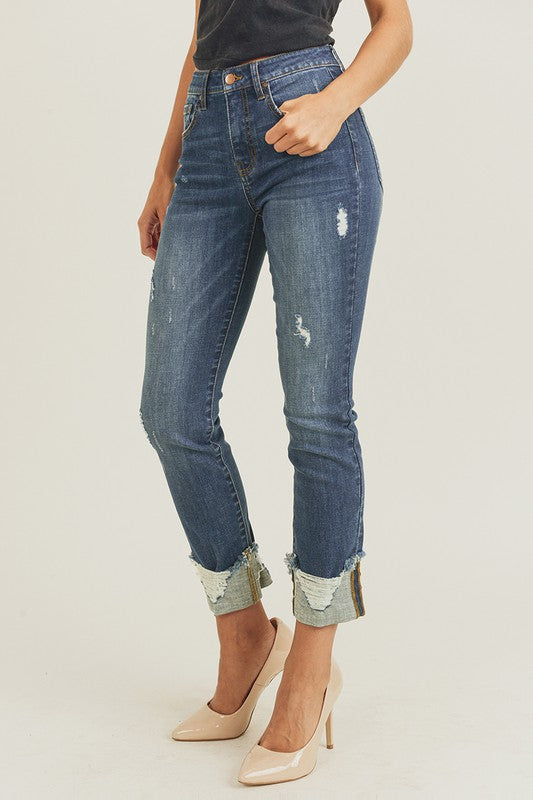 Frayed Cuff, Ankle Straight Jeans.