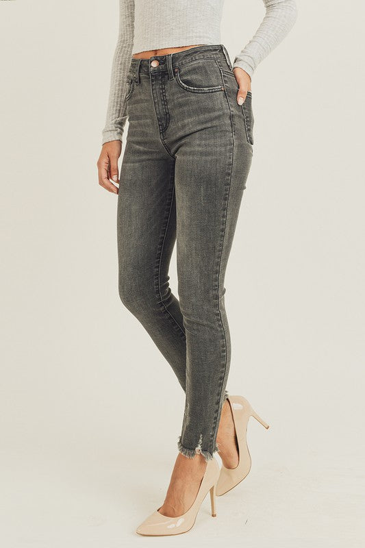 High Waisted Hem Ankle Skinny
