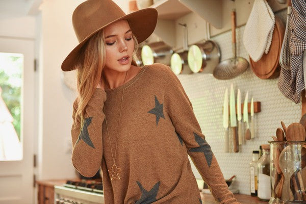 Cashmere Brushed Star Long Sleeve Top - Mocha
