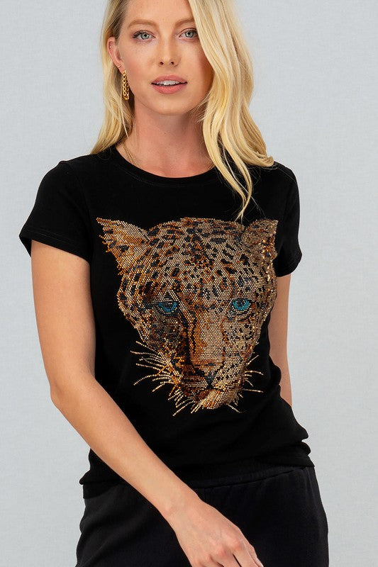 studded leopard face shirt
