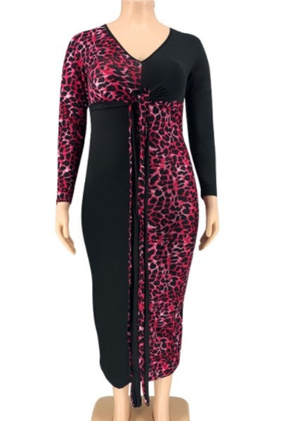 Curvy Collection | Deep V Pink & Black Dress