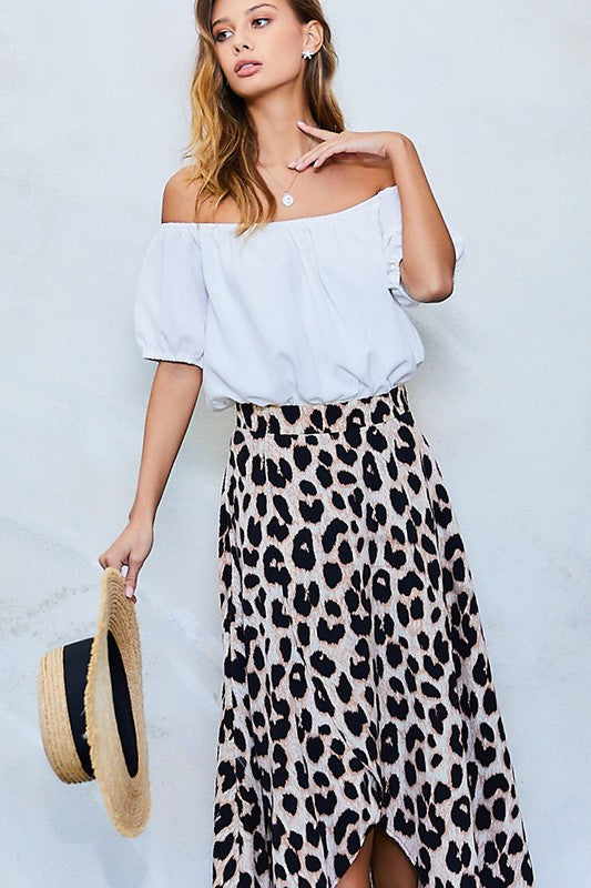 Off Shoulder Leopard Print Dress