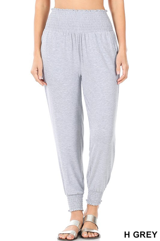 high waisted smocked lounge joggers