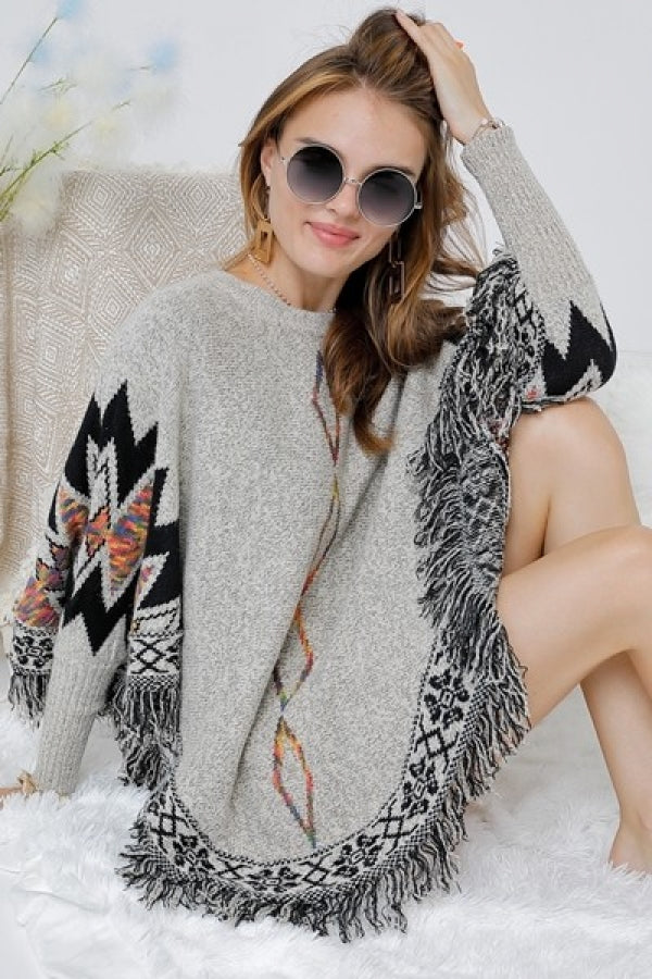 TRIBAL SWEATER PONCHO WITH FRINGES