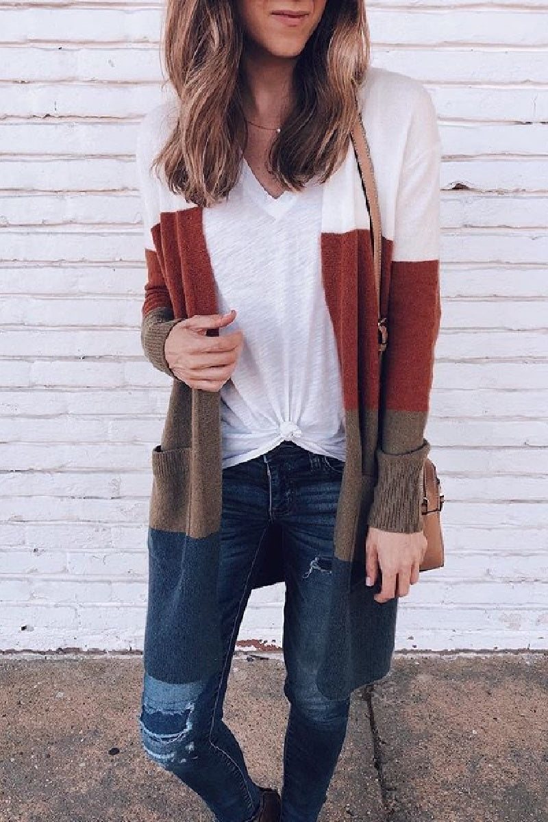 Open Front Color Block Striped Sweater
