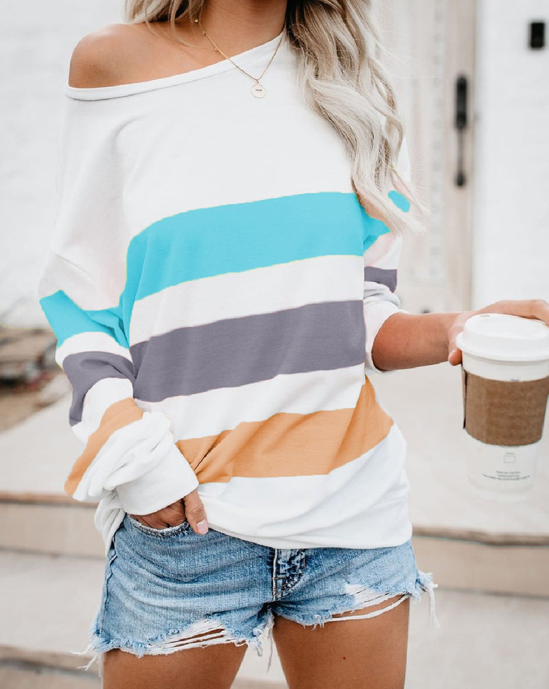 color block long sleeve casual top