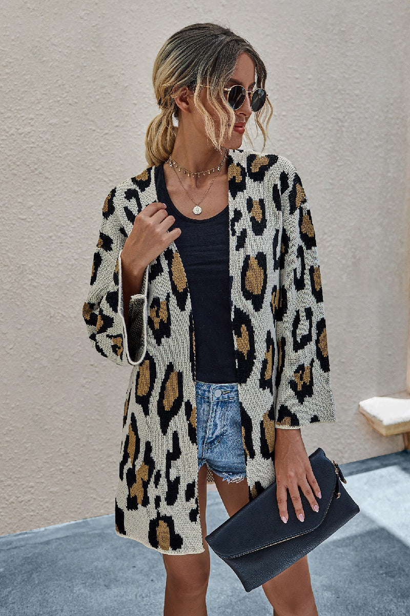 Leopard Open Front Cardigan with bell sleeves