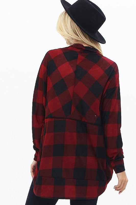 Open front cardigan with plaid pattern