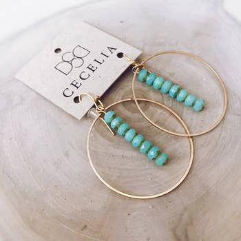Drop Hoop Earrings (Aqua Gold Plated Hoop Earrings)