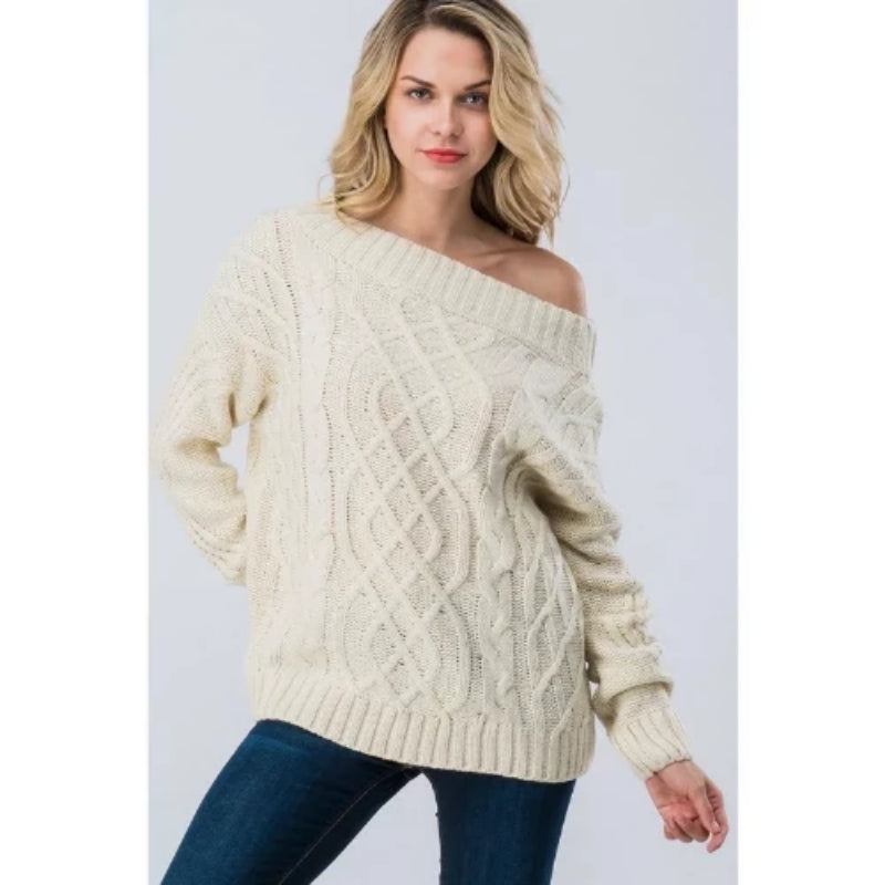 Off The Shoulder Long Sleeve Sweater