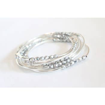 6 Wrap Bracelet Collection (Shiny Silver )
