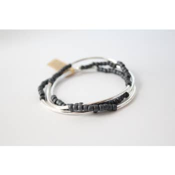 Triple Wrap Bracelet Collection (Silver and Matte Grey)