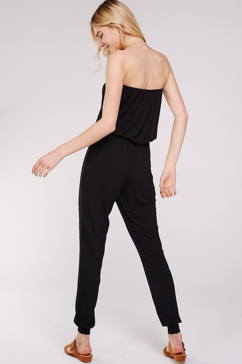 Classic and sexy, the black strapless jumpsuit