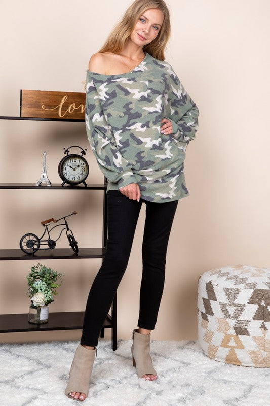 Soft Camo Printed Dolman Top