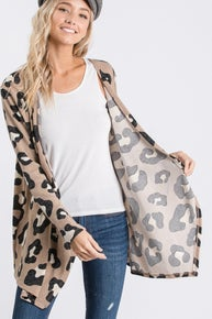 Animal print draped cardigan