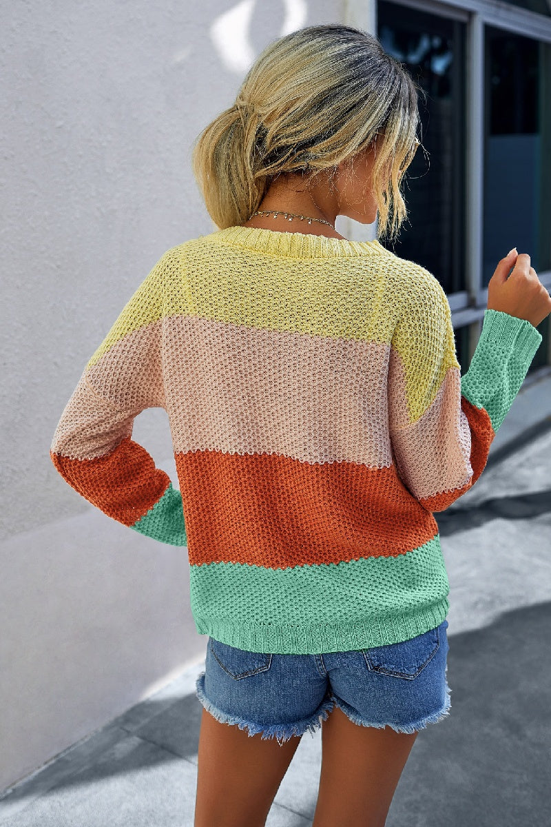 Color Block Knit Long Sleeve Yellow Sweater