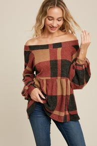 Fall plaid ruffle top wtih wide boat neck