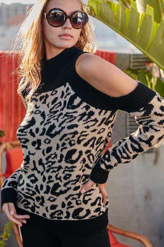 Mock Neck Cold Shoulder Long sleeve Leopard Print Sweater