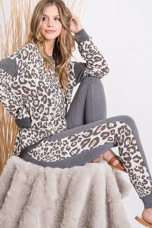 Brushed leopard print jogger set 2