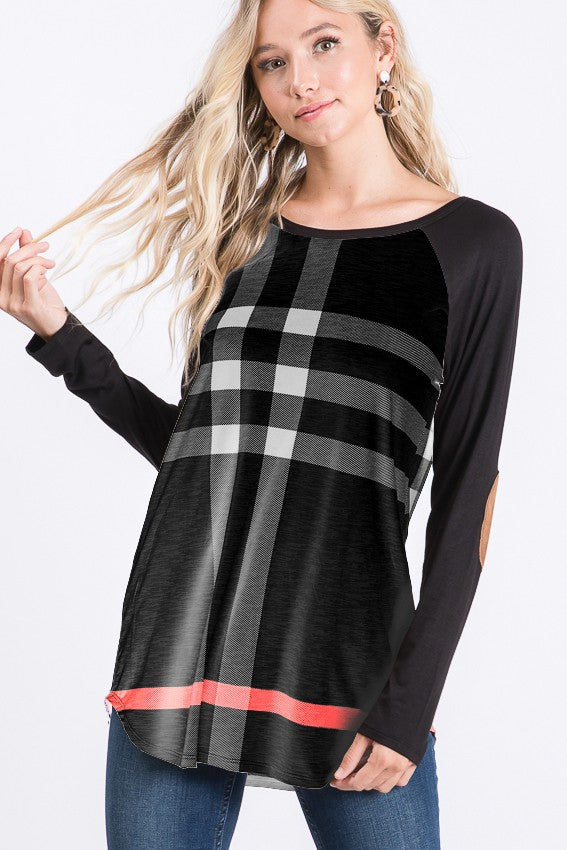 Solid and plaid contrast top with elbow patch