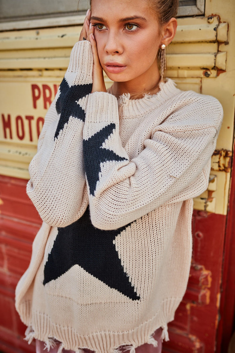 Distressed Round Neck  Long Sleeve Star Print Loose Fit Sweater