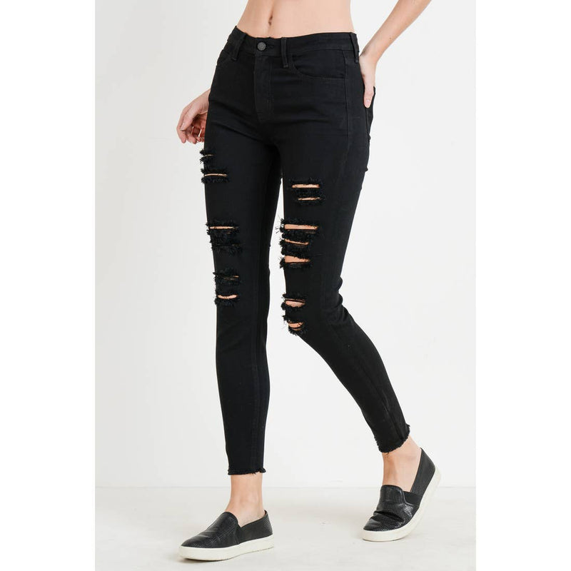 super distressed skinny with fray