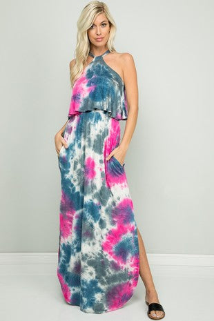 Tie dye halter tie back maxi dress
