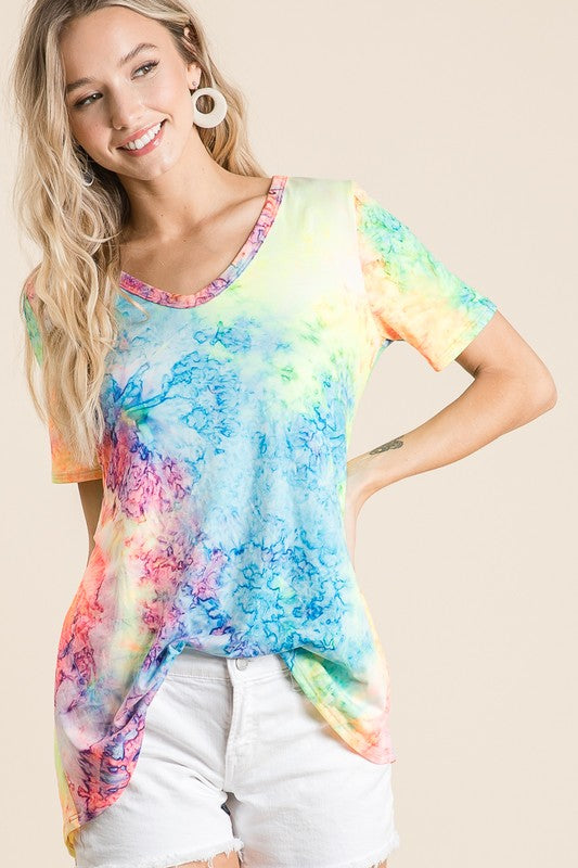 Tie Dye Jersey Top with Deep U Neck