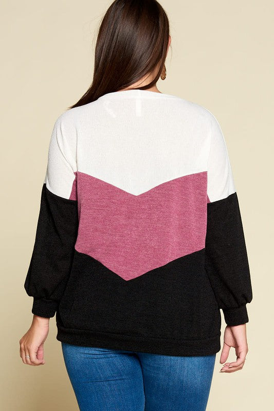 Color Block Casual Pullover
