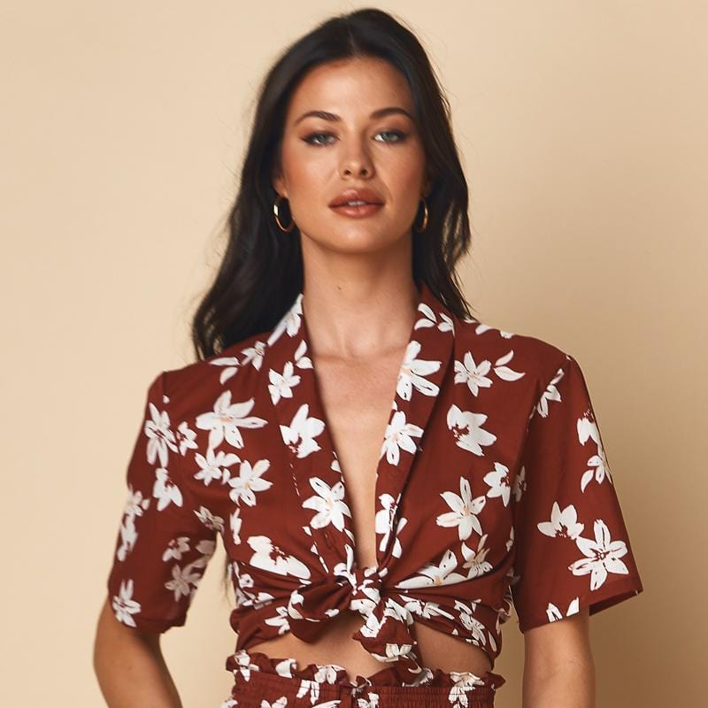 Chocolate Floral Frankie Top