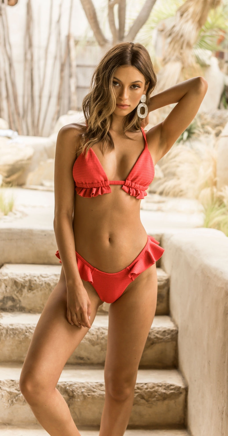 Crimson Micro Scrunch Ruffle Triangle Top x Ruffle Uno Bottom Bikini Set
