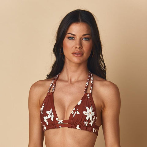 Chocolate Floral Braided T Bikini Top