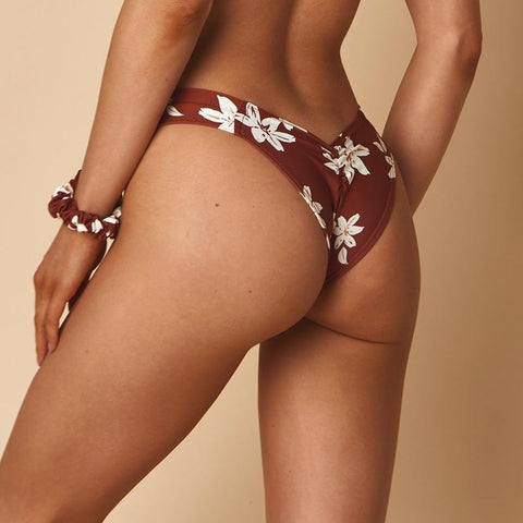 Chocolate Floral Added Coverage Uno Bikini Bottom