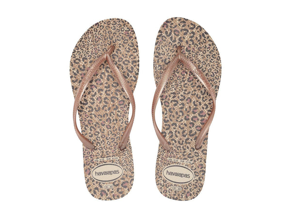 Beige/Rose Gold Animal Slim Sandals