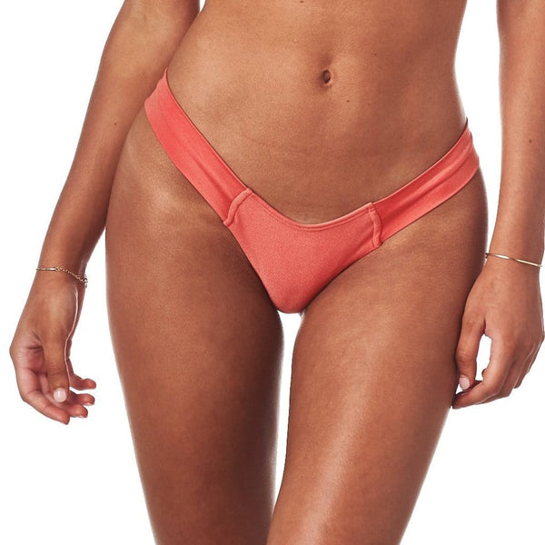 Coral Shimmer Added Coverage Uno Bikini Bottom