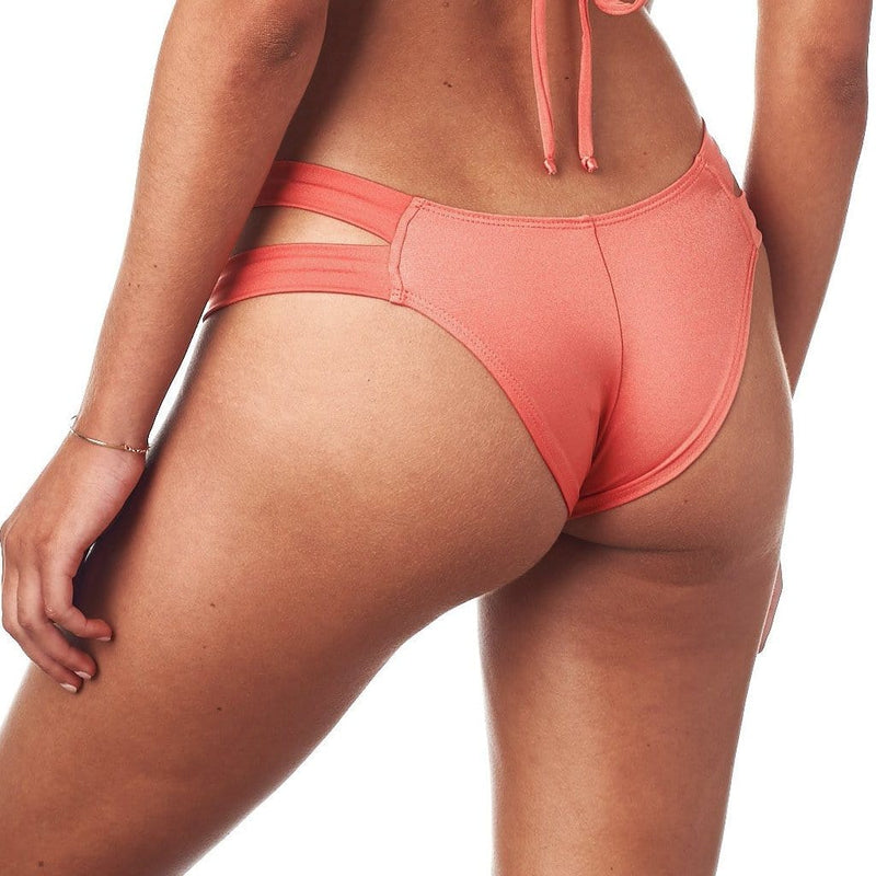 Coral Shimmer Added Coverage Euro Bikini Bottom