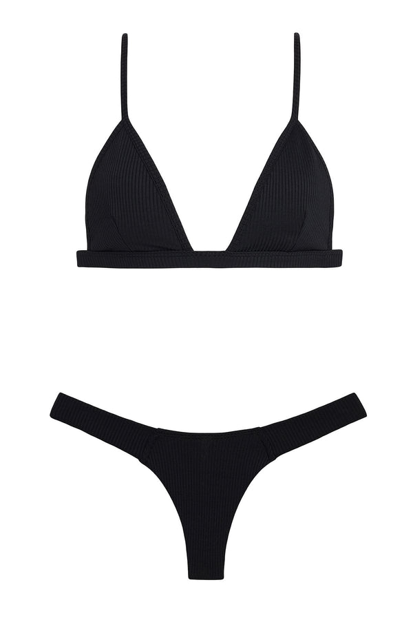Black Rib Hunter Triangle Top x Uno Bottom Bikini Set