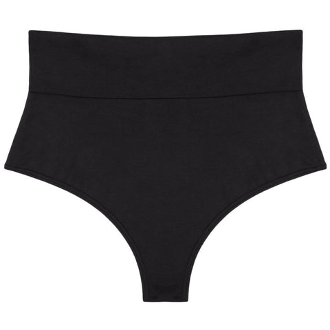Black Faux Suede High Rise Bikini Bottom