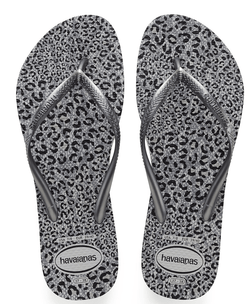 Steel Grey/Metallic Graphite Animal Slim Sandals