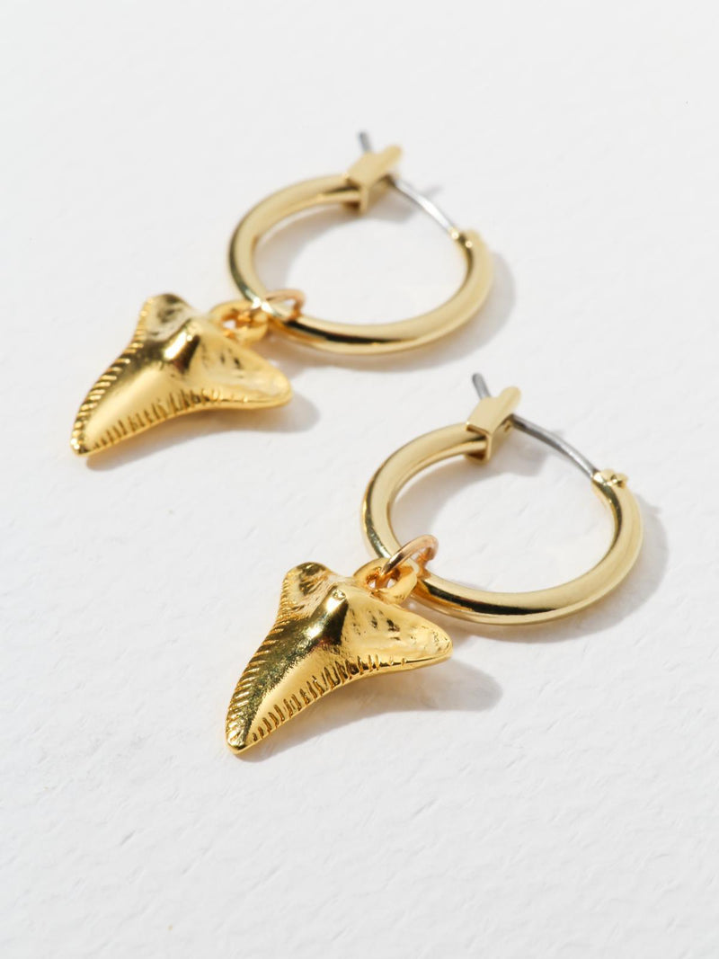 Gold Sharktooth Earrings