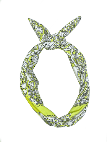 Chartreuse Paisley Tie-up Headband