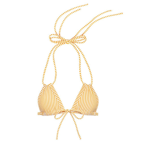 Canary Stripe Euro Bow Bikini Top
