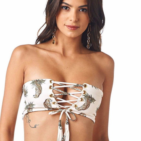 Cream Cheetah Repeat Corset Bikini Top