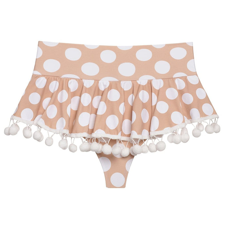 Polka Dot Pom Pom High Rise Bikini Bottom
