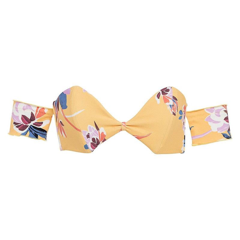 Yellow Batik Bellini Sleeves Bikini Top