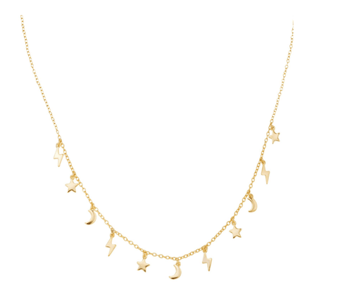 Lightning Charm Necklace (Gold)