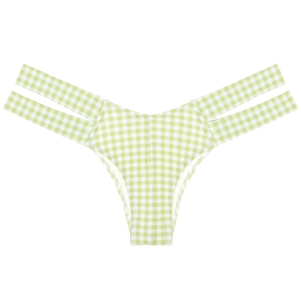 Vert Gingham Added Coverage Euro Bikini Bottom