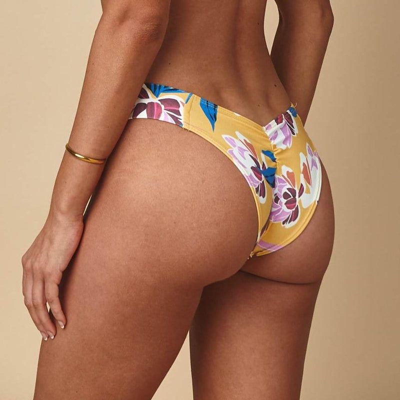 Yellow Batik Added Coverage Uno Bikini Bottom